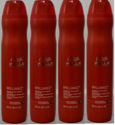 Wella Brilliance Shampoo for Fine to Normal Colored Hair 10.1oz (4 pack)