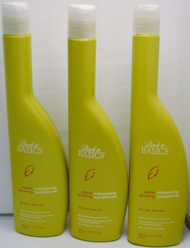 Back To Basics Apple Ginseng Volumizing Conditioner for fine thin hair 11oz (3 pack)