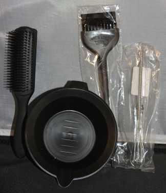 Hair Coloring Bowl, Hair Color Brush, Stirrer, and Hair Brush Set