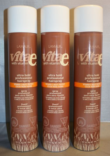 Lamaur Vita-e Ultra Hold Professional Hair Spray 55% VOC 10 oz (3 pack)