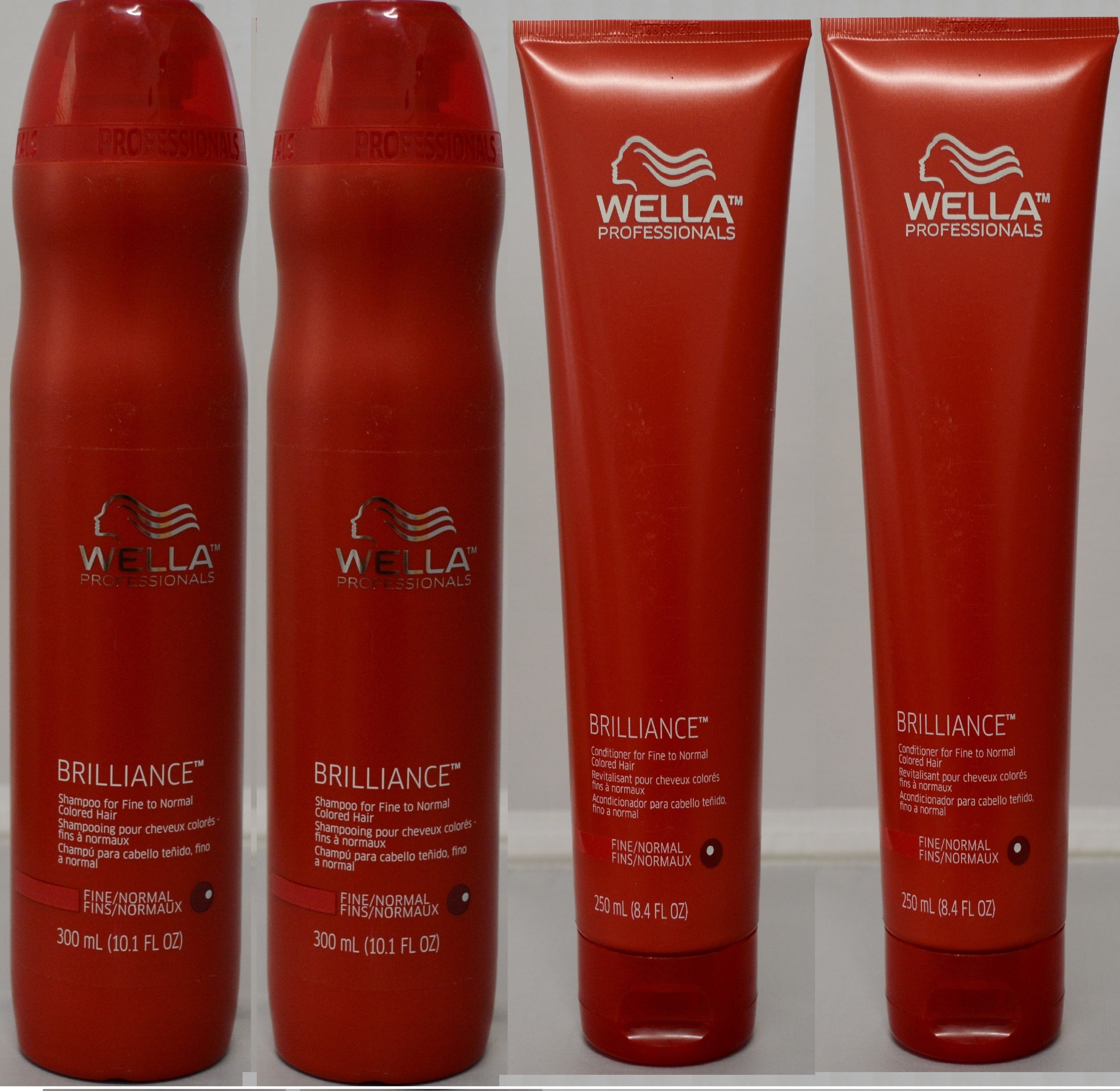Wella Brilliance Shampoo 10.1oz & Conditioner 8.4oz for Fine to Normal Colored Hair (4 pack)