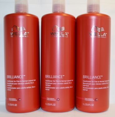 Wella Brilliance Conditioner for Fine to Normal Colored Hair 33.8oz (3 pack)