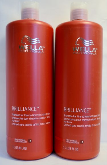 Wella Brilliance Shampoo for Fine to Normal Colored Hair 33.8oz (2 pack)