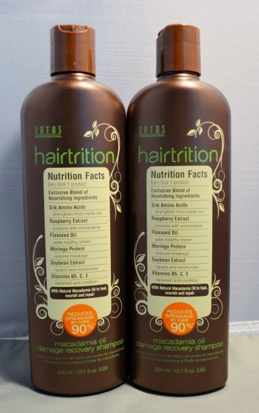 Zotos Hairtrition Macadamia Oil Damage Recovery Shampoo 10.1 oz (2 pack) Total = 20.2oz
